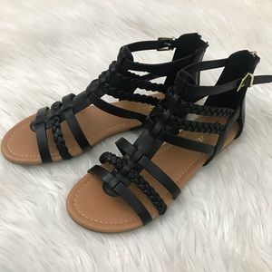 Shoes - Black Braided Gladiator sandals